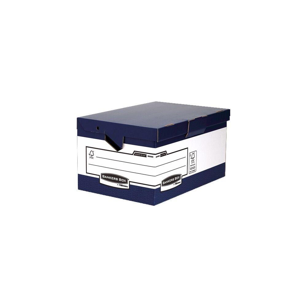 Archiváló konténer, csapófedeles BANKERS BOX BY FELLOWES , 10 db/csomag, kék