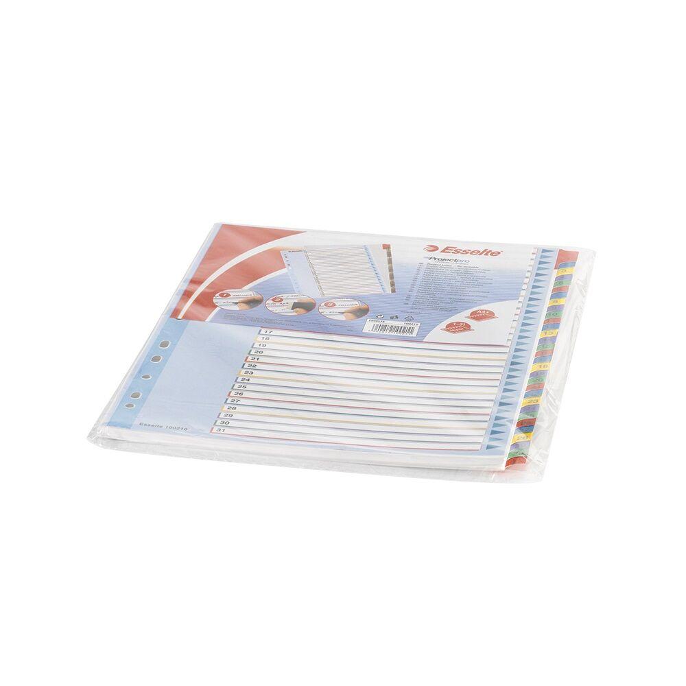 Elválasztólap A4 maxi regiszteres 1-31 laminált karton előlap ESSELTE 100210