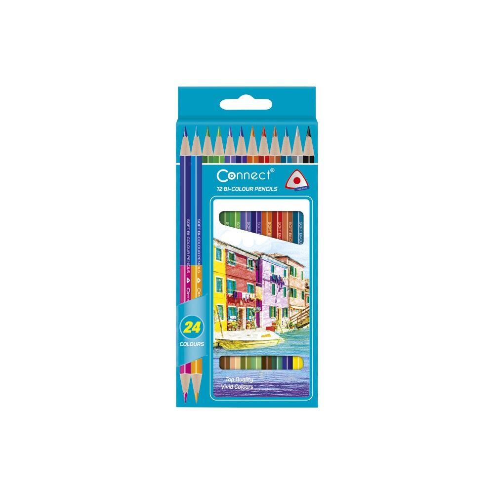 Színes ceruza CONNECT kétvégű 12db-os készlet (24 szín)