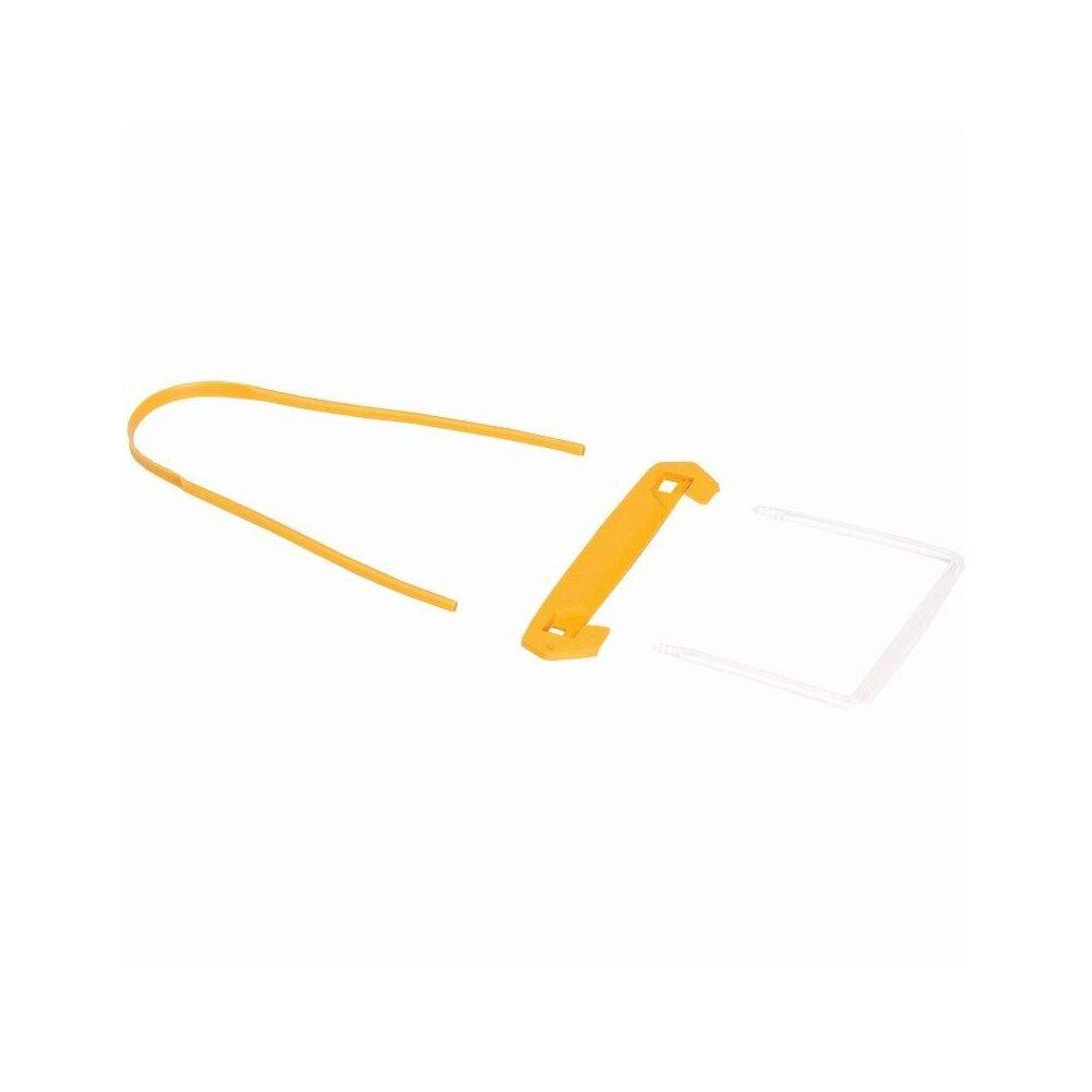 Lefűzőklip, műanyag, 100 mm, FELLOWES, Bankers Box, 100 db/csomag, sárga-fehér