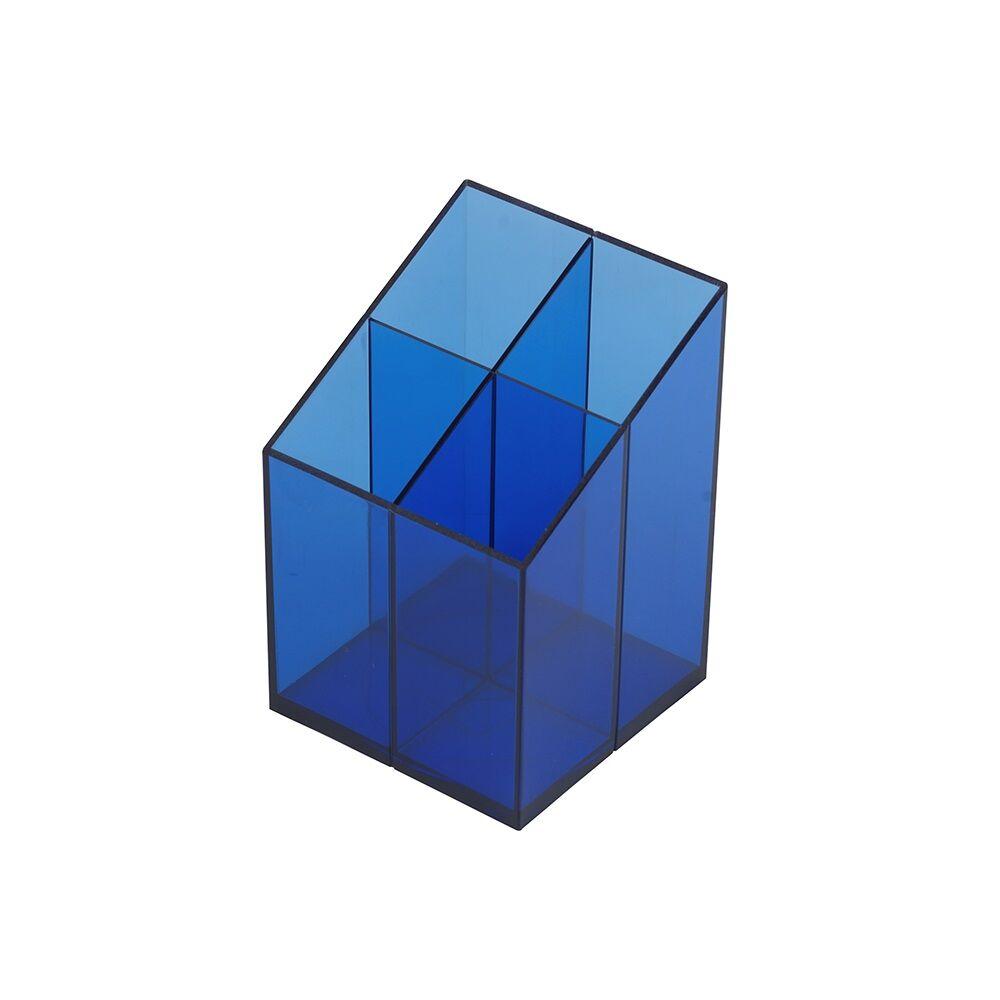 Írószertartó műanyag négyszögletű 4rekeszes  BLUERING transzparens kék