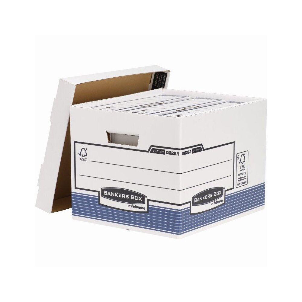 Archiváló konténer, karton, standard, FELLOWES Bankers Box System, 10 db/csomag, kék