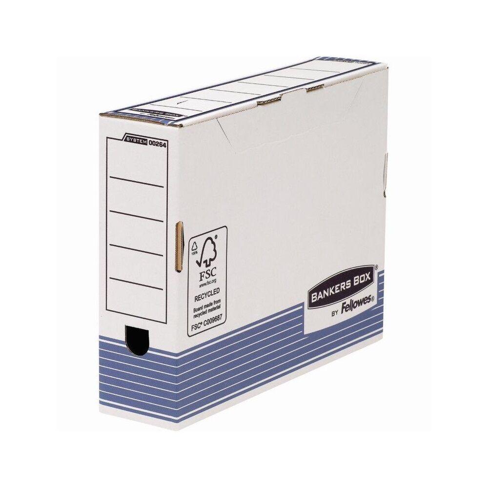 Archiváló doboz 80 mm, FELLOWES Bankers Box System, 10 db/csomag, kék
