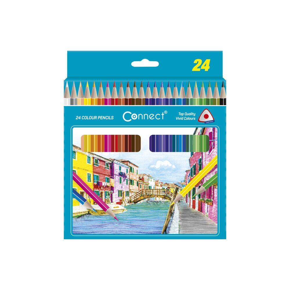 Színes ceruza háromszögletű CONNECT 24db-os készlet,