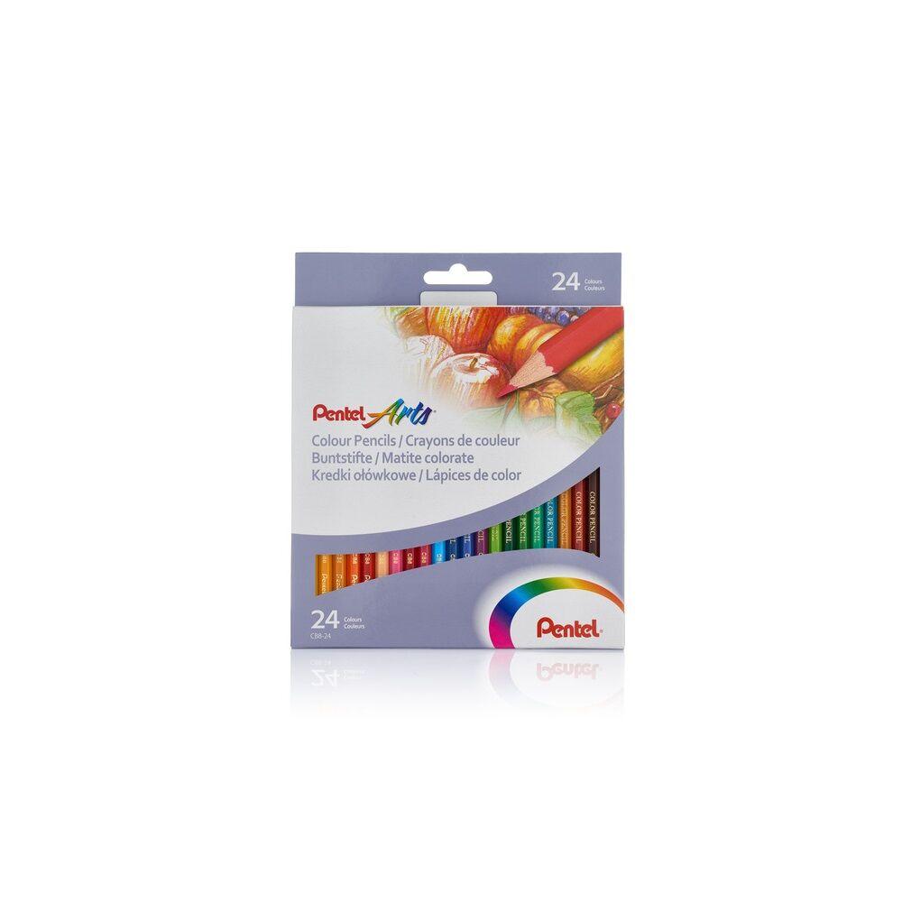 Színes ceruza készlet hatszögletű 24 szín Pentel