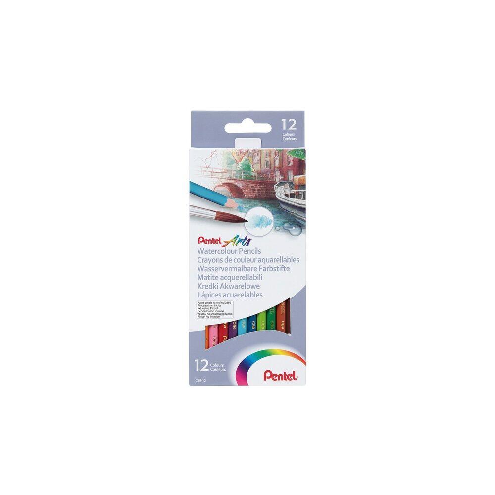 Színes ceruza akvarell készlet hatszögletű 12 szín Pentel