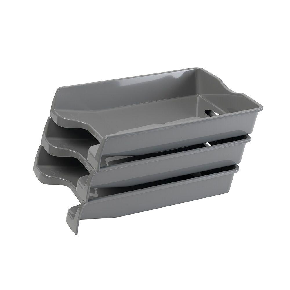 Irattálca műanyag 355 szürke 355x255x60mm