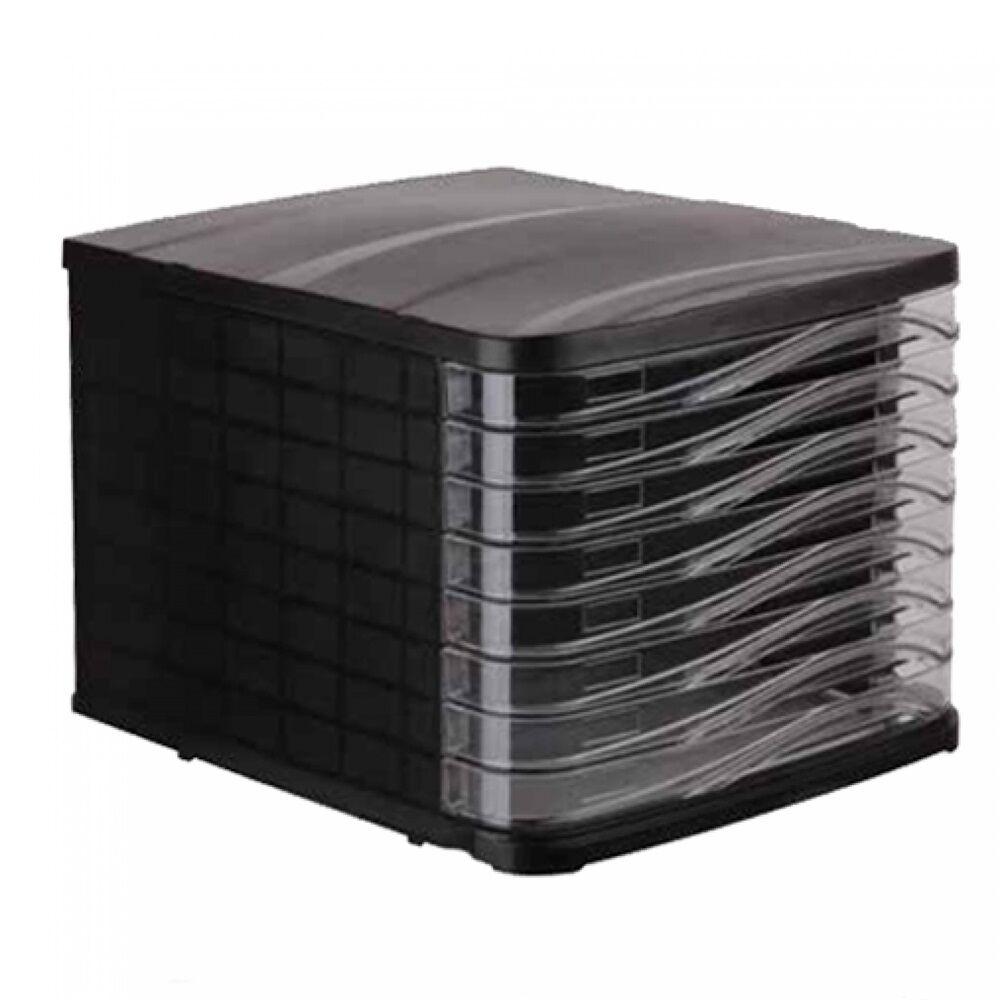Irattároló műanyag 8 fiókos fekete, víztiszta fiókokkal