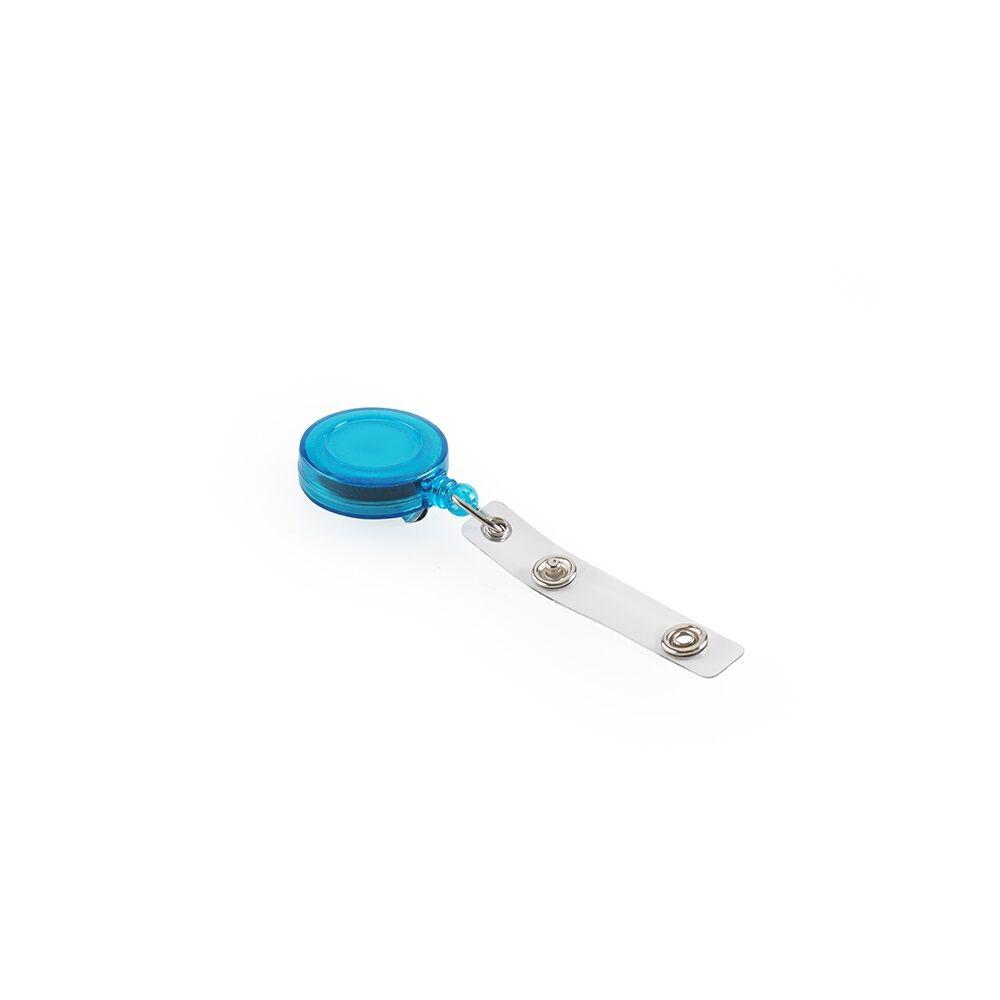 Névjegykitűzőhöz akasztós tartó, kék kihúzható kerek 80 cm zsinórral, patentos BLUERING