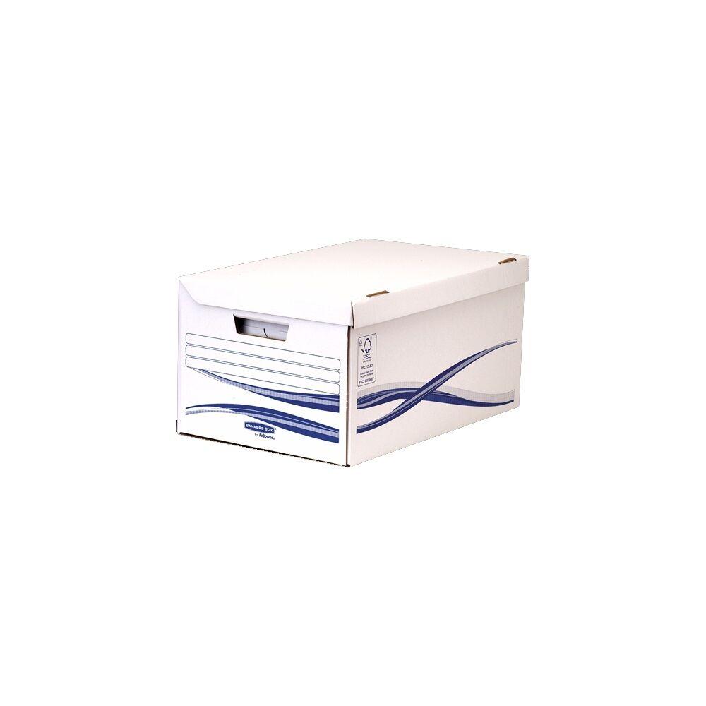 Archiváló konténer csapófedéllel , karton, 6 db A4+, 80 mm Archiváló dobozzal, FELLOWES Bankers Box Basic, kék-fehér