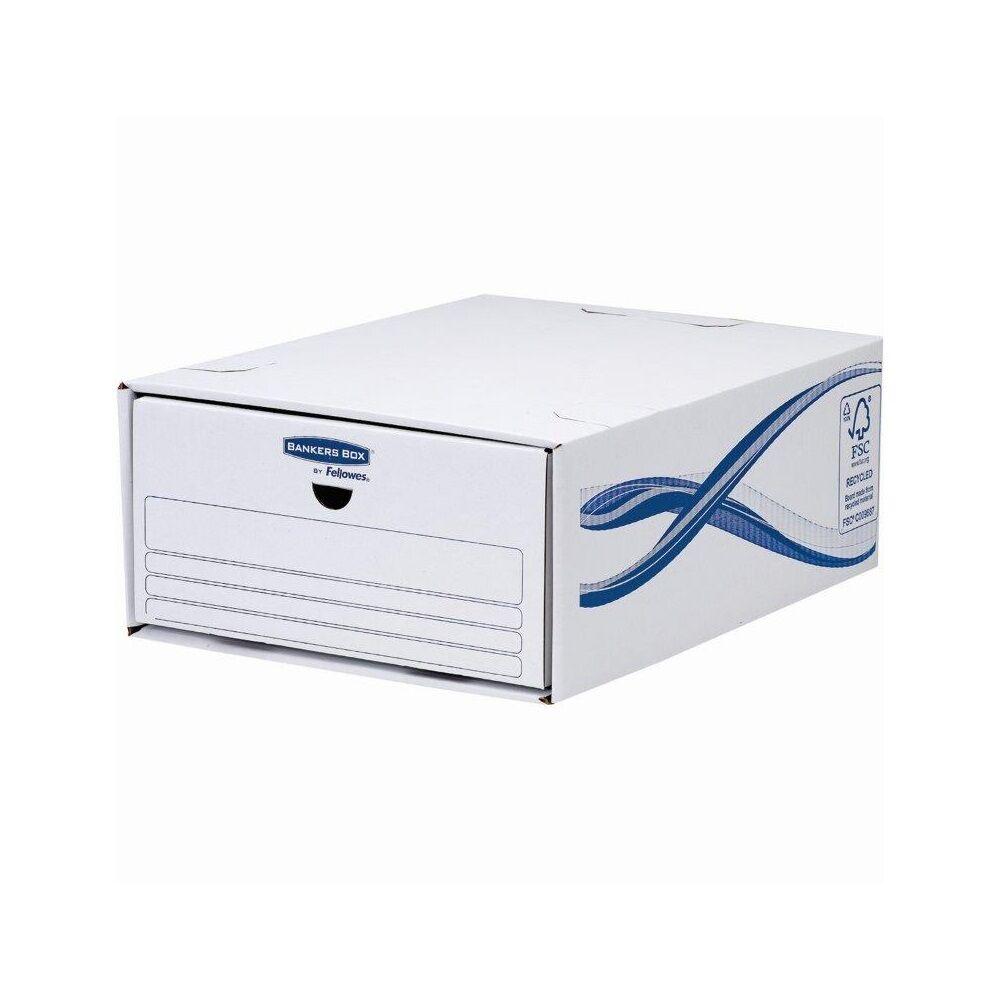 Irattároló fiók, karton, egymásba illeszthető, FELLOWES Bankers Box Basic, 5 db/csomag, kék-fehér
