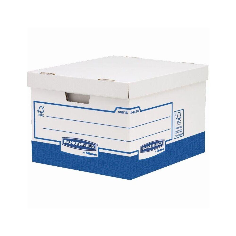 Archiváló konténer, karton, extra erős, nagy, FELLOWES Bankers Box Basic, 10 db/csomag, kék-fehér