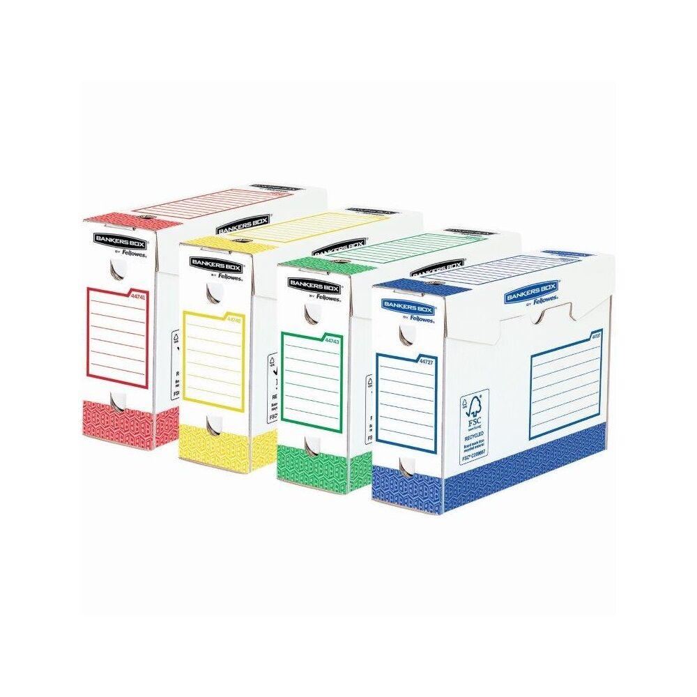 Archiváló doboz extra erős, A4+, 100 mm, FELLOWES Bankers Box Basic, 8 db/csomag, vegyes színek