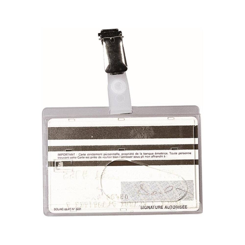 Névkitűző és azonosítókártya tartó, csiptetővel, 90x60 mm, műanyag, FELLOWES 50 db/doboz
