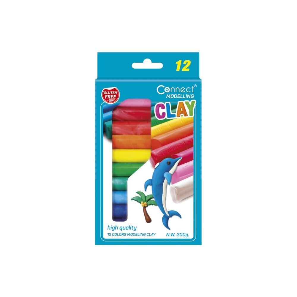 Gyurma CONNECT 12 színes, 200g, felakasztható karton dobozban