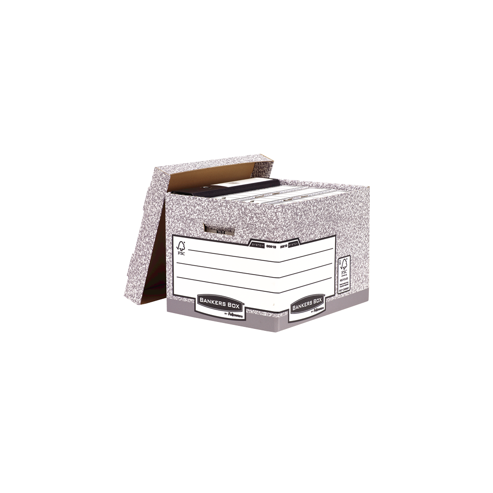 Archiváló konténer, karton, standard, FELLOWES Bankers Box System, 2 db/csomag, szürke/fehér