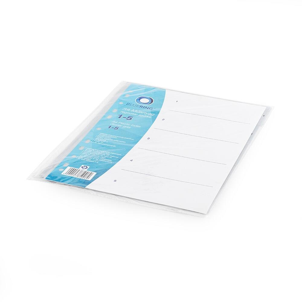 Regiszter műanyag 1-5 szürke BLUERING