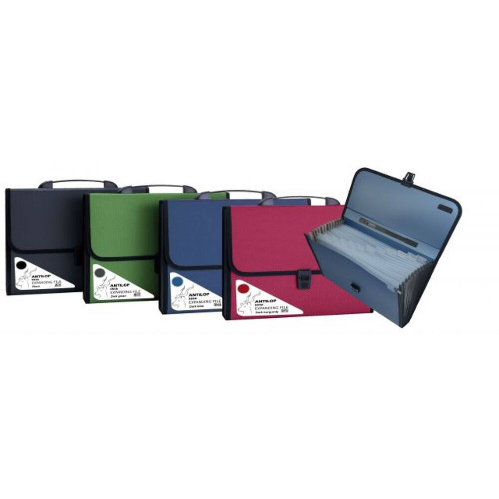 Irattartó táska, harmonikatáska, 13 rekeszes füles csatos ANTILOP, zöld