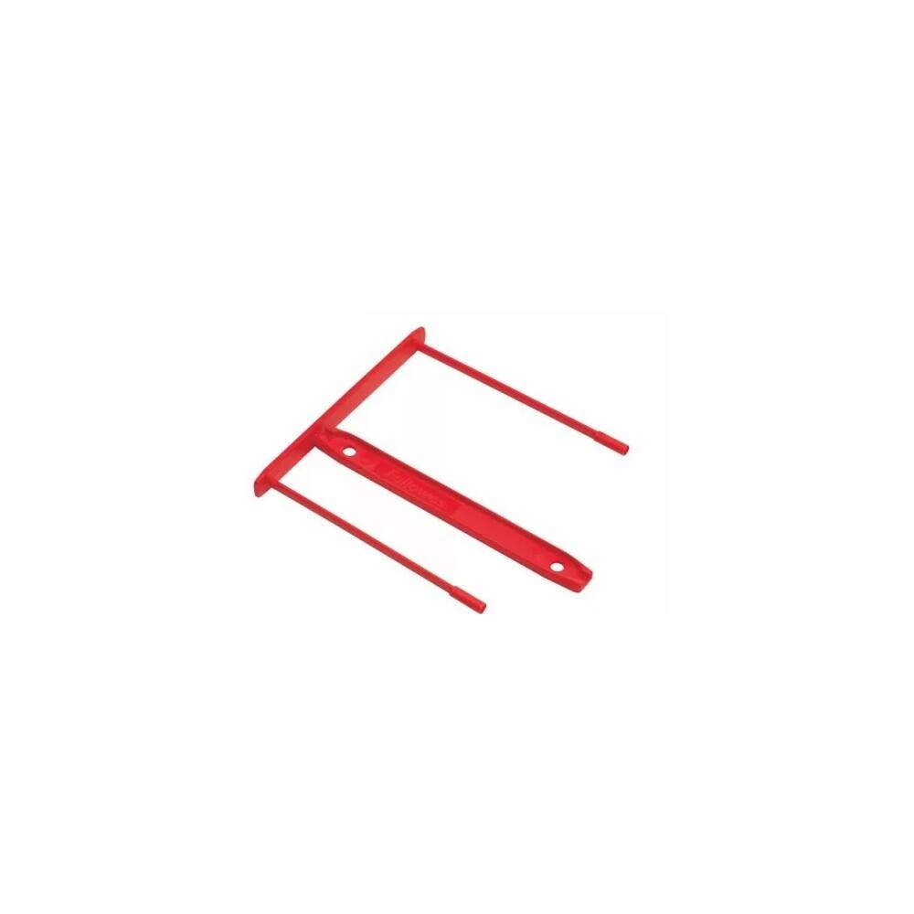Lefűzőklip, műanyag, 85 mm, FELLOWES, Bankers Box, 100 db/csomag, piros
