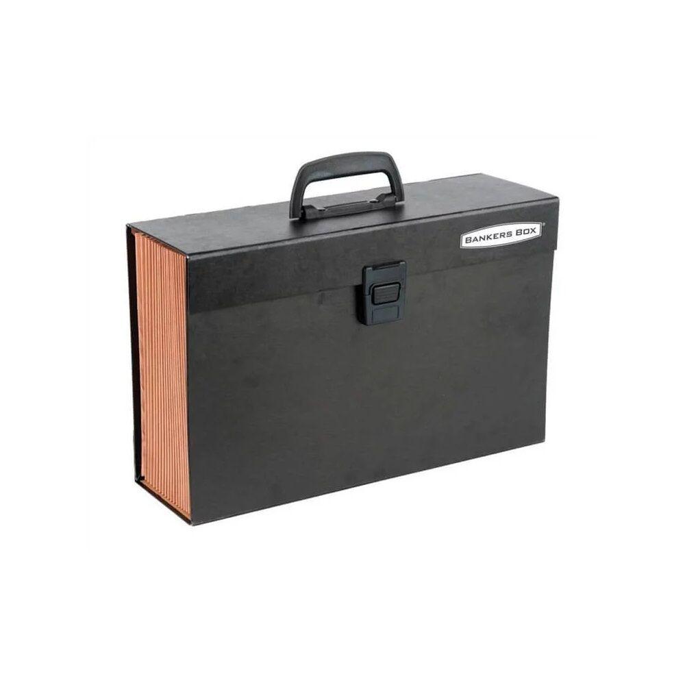 Irattartó táska, harmonikatáska, karton, 19 rekeszes, FELLOWES Bankers Box Handifile, 5db/csom fekete