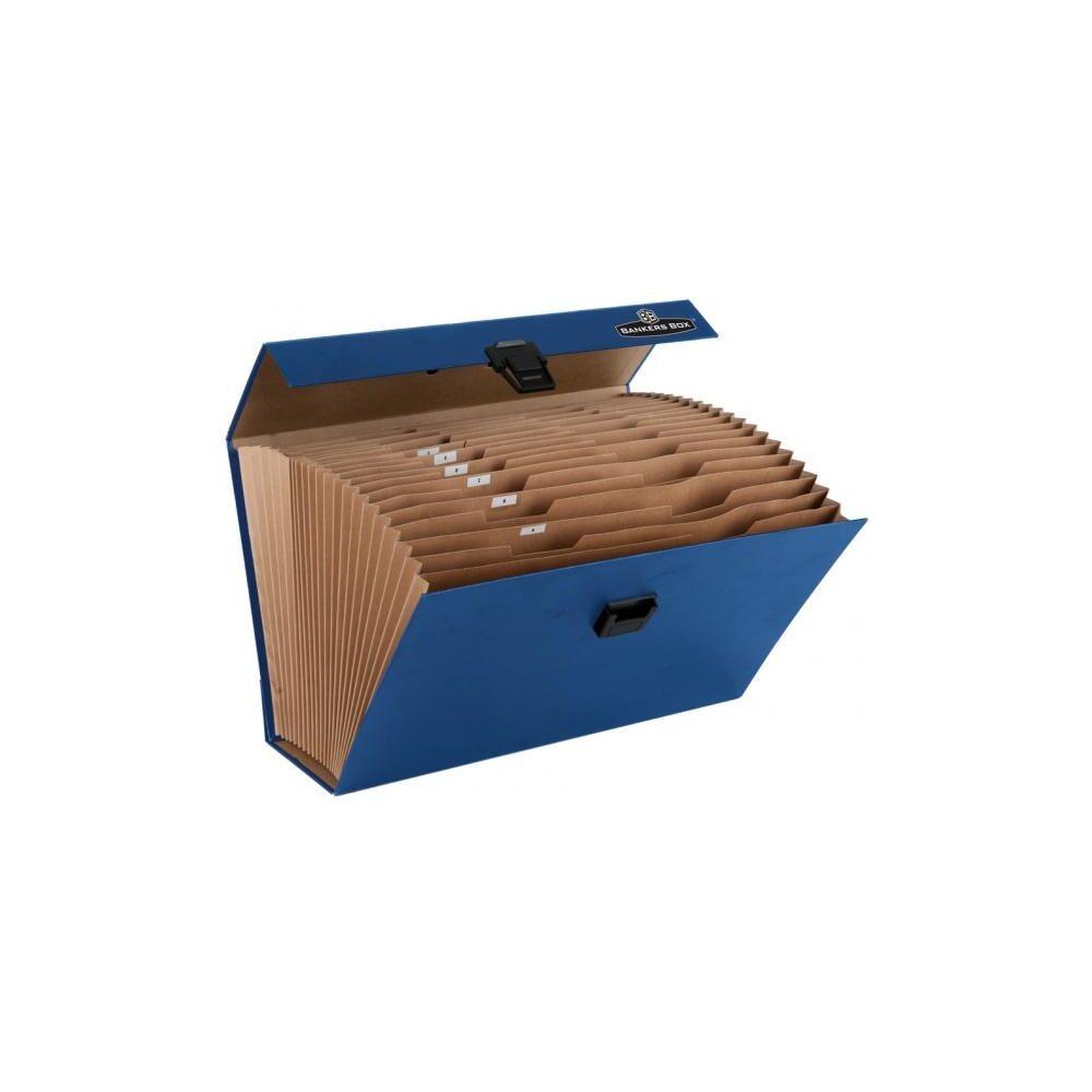 Irattartó táska, harmonikatáska, karton, 19 rekeszes, FELLOWES Bankers Box Handifile, 5db/csom kék