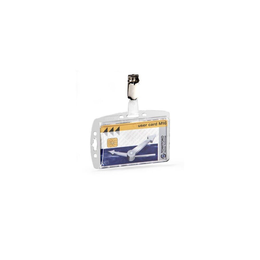 Biztonsági kártyatartó DURABLE 1 kártya számára, csipesszel, 25db/csomag, áttetsző