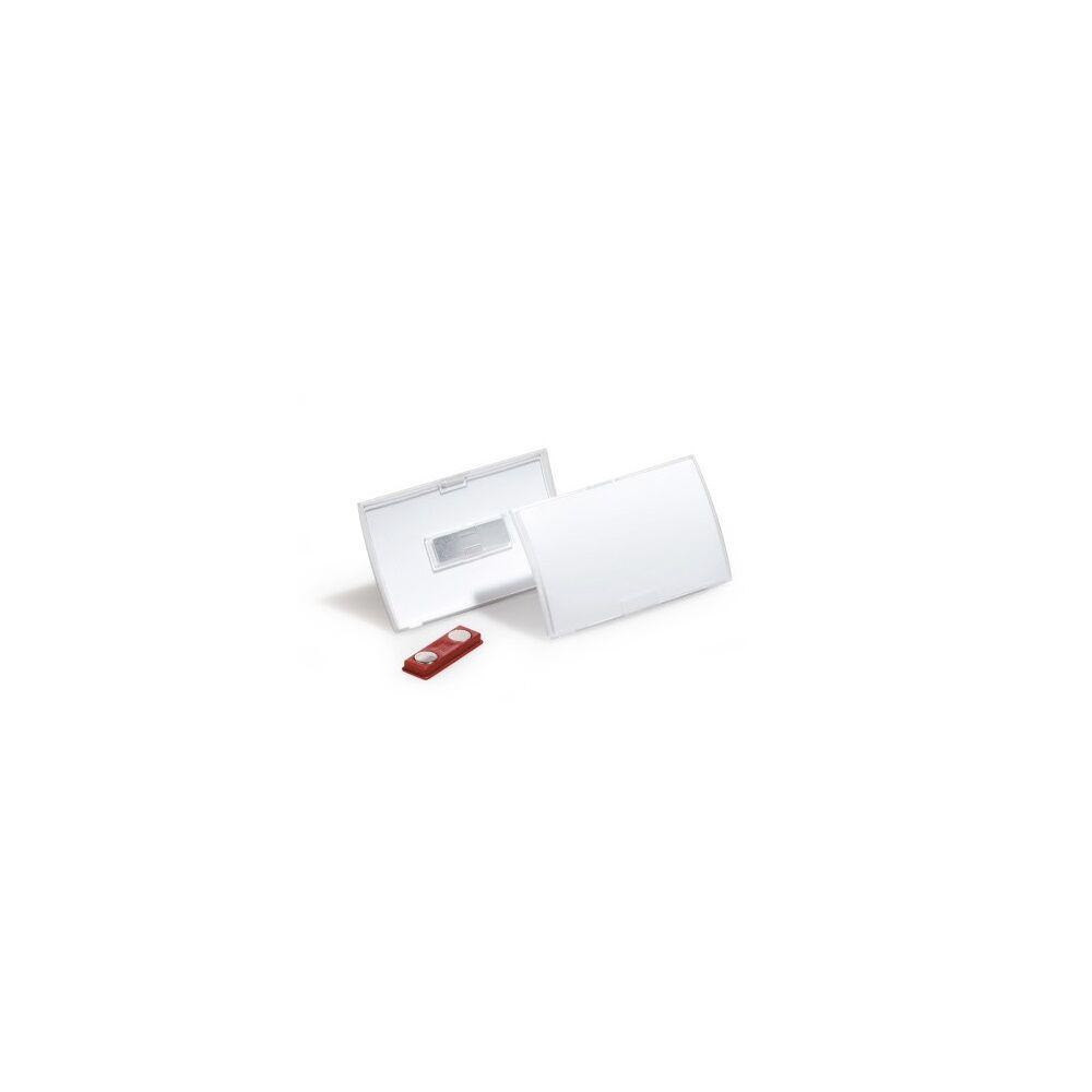 Névkitűző DURABLE CLICK FOLD 54 x90 mm, mágnessel, 10db/csomag, áttetsző