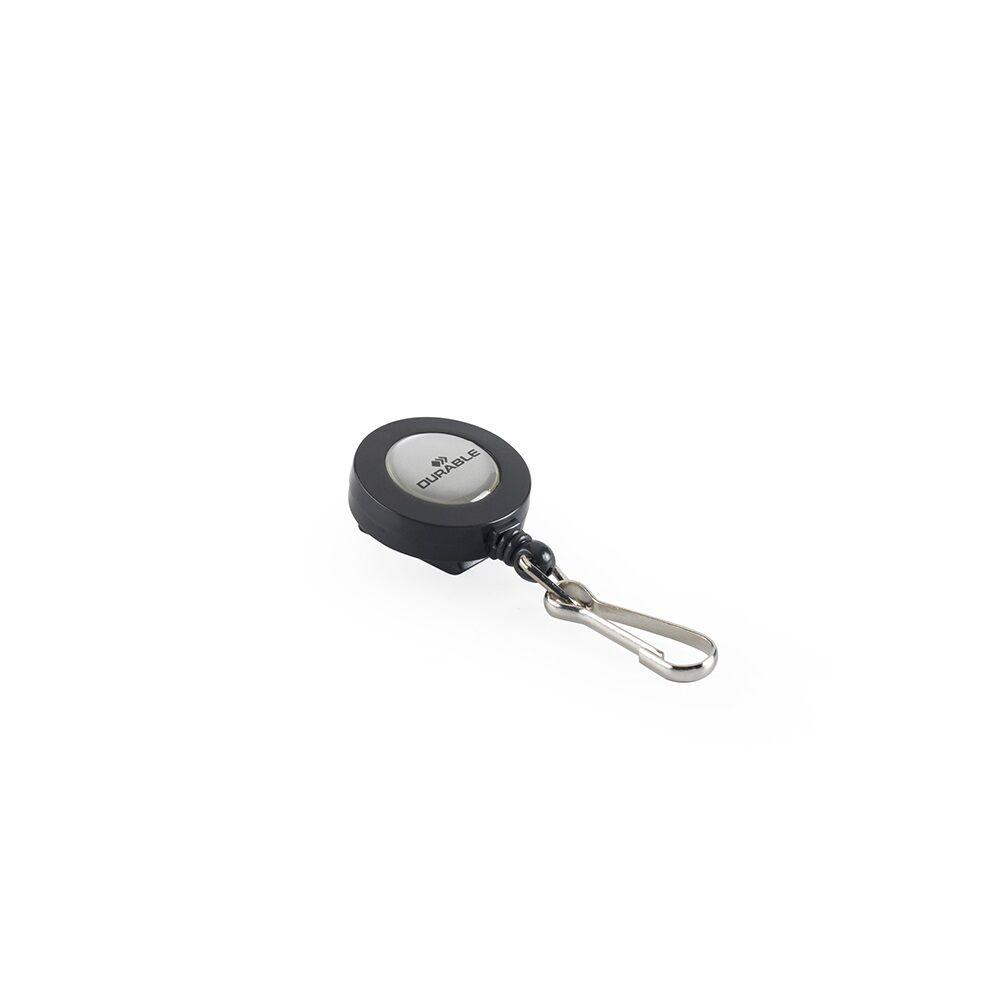 Névjegykitűzőhöz karabíneres tartó kihúzható kerek fekete DURABLE 8221/58