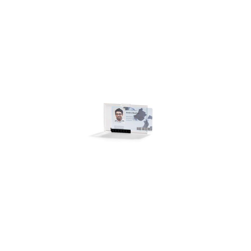 Biztonsági kártyatartó DURABLE 1 kártya számára PUSHBOX MONO, 10db/csomag, áttetsző