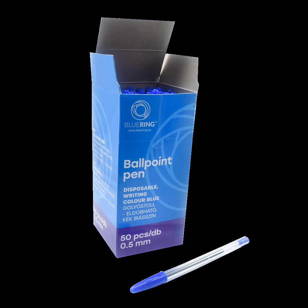 Golyóstoll eldobható kupakos kék BLUERING