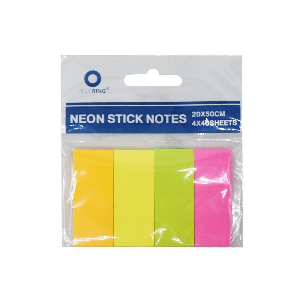 Jelölőcímke papír 4x40 lap 20x50 mm vegyes neon színek BLUERING
