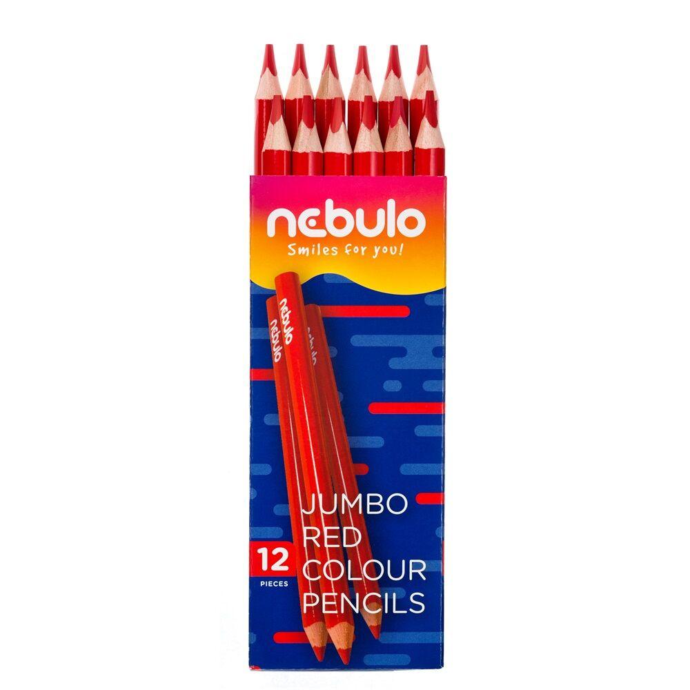 Színes ceruza, jumbo háromszög, NEBULO piros