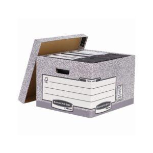 Archiváló konténer, karton, nagy, FELLOWES Bankers Box System, 10 db/csomag,