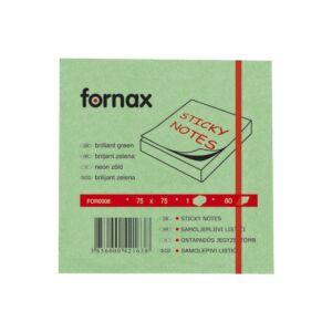 Jegyzettömb FORNAX öntapadós 75x75 mm neon zöld 80 lap