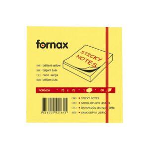 Jegyzettömb FORNAX öntapadós 75x75 mm neon sárga 80 lap