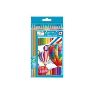 Színes ceruza hatszögletű CONNECT 14db-os készlet,  (12 szín+ arany, ezüst)