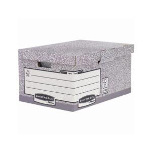 Archiváló konténer csapófedéllel , BANKERS BOX SYSTEM by FELLOWES, 10 db/csomag, szürke