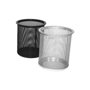 Fémhálós írószertartó pohár kerek FORNAX, ezüst