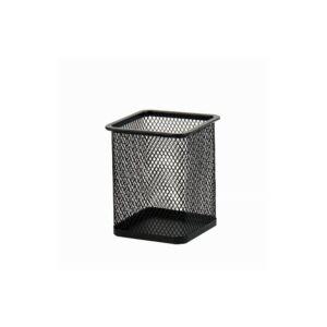Fémhálós írószertartó pohár szögletes fekete