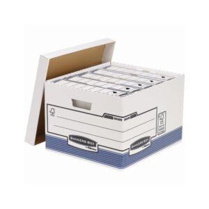Archiváló konténer, karton, nagy, FELLOWES Bankers Box System, 10 db/csomag, kék