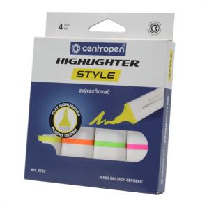 Szövegkiemelő CENTROPEN 6252 vágott 1-4,6 mm 4db-os készlet neon
