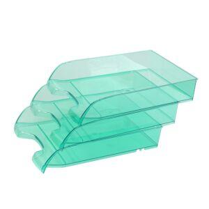 Irattálca műanyag 550 áttetsző zöld extra széles 345x270x67mm