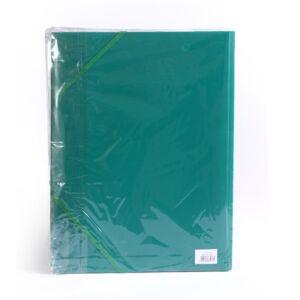 Gumis mappa műanyag 3 cm gerincvastagított perforált zöld 6 db