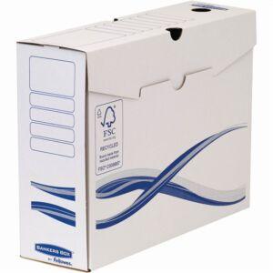 Archiváló doboz A4+, 100 mm, FELLOWES Bankers Box Basic, 10 db/csomag, kék-fehér