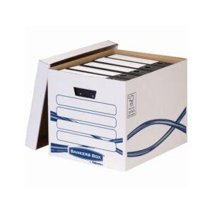 Archiváló konténer, karton, FELLOWES Bankers Box Basic Tall, 10 db/csomag, kék-fehér