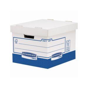 Archiváló konténer, karton, extra erős, nagy, FELLOWES Bankers Box Basic, 10 db/csomag,kék-fehér