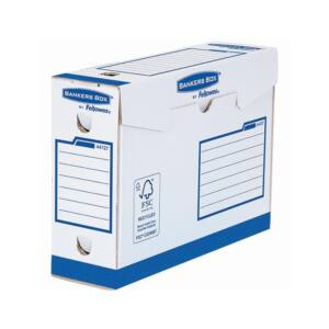 Archiváló doboz extra erős, A4+, 100 mm, FELLOWES Bankers Box Basic, 20 db/csomag, kék- fehér