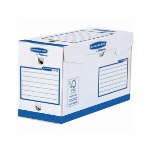 Archiváló doboz extra erős, A4+, 150 mm, FELLOWES Bankers Box Basic, 20 db/csomag, kék- fehér