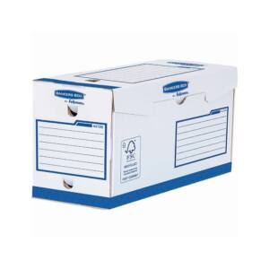 Archiváló doboz extra erős, A4+, 200 mm, FELLOWES Bankers Box Basic, 20 db/csomag, kék- fehér