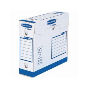 Archiváló doboz extra erős, A4+, 80 mm, FELLOWES Bankers Box Basic, 20 db/csomag, kék- fehér